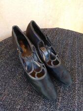 Vtg Antique 1920s Black Satin Shoes Flapper T Straps Us6 Narrow