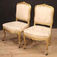 Coppia di sedie mobile poltrone da salotto legno dorato stile antico Luigi XV