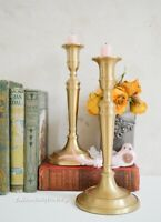 Pair Brass Candle Holders , Vintage Heavy Candlesticks , Classic Brass Holders