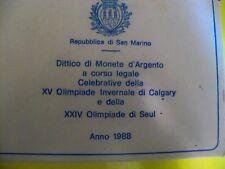 SAN MARINO-1988-DITTICO CALGARY 500-1000 LIRE-ARGENTO-FIOR DI CONIO