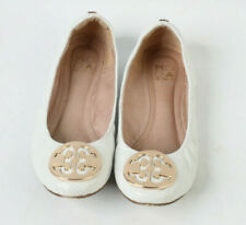 MODA IN PELLE White Ballerina Bendy Pumps Gold Metal Detail Size UK 4 EU 37