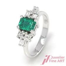 Smaragdring 750/18K Weißgold + 6 Diamanten ca. 0,30 ct TW-VSI - 3,9 g - Gr. 49
