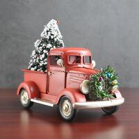Christmas Vintage Metal Classic Pickup Truck w/Tree Wreath Garland House Decor