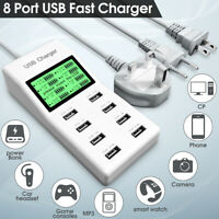 8Port Smart Multi USB Hub Fast Charging Station AC Wall Charger F/ Mobile MP3