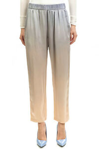 RRP €430 RAQUEL ALLEGRA Silk Satin Trousers Size 1 / S Ombre Elasticated Waist