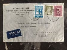 1947 Istanbul Turkey Toroslar Commercial cover To Liverpool England