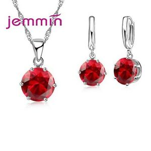 Candy Cz Crystal Cubic Zirconia Hoop Earring Necklace Jewelry Set For Women Girl