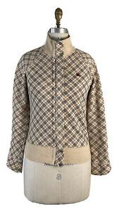 Burberry London Women's Blue Label Nova Check Collared Sweater Jacket Size  38