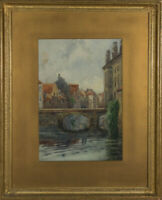 I Harrison - Signed & Framed Early 20th Century Watercolour, Continental Town