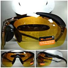 WRAP AROUND SHIELD SPORT HUNTING DRIVING Matte Black SUN GLASSES HD Amber Lens