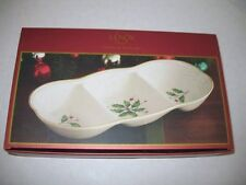 """Lenox Holly Leaves Berries Holiday Christmas 12"""" 3 Part Divided Server Tray NEW"""