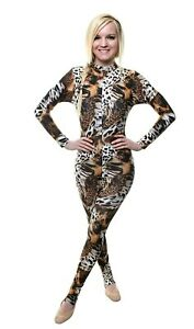 Catsuit Long Sleeves Polo Full Back - Animal Print - Safari Print (#ELSA)