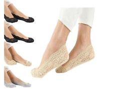 Womens Low Cut No Show Lace Socks Anti Slip Liner(pack of 6 pairs)