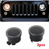 Pair Car Grill Turn Signal Light LED Amber+White Halo Ring For Jeep Wrangler JK