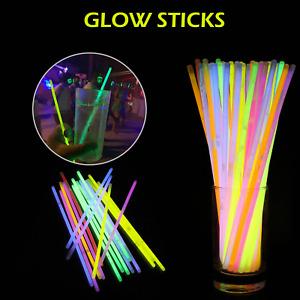 "15/300 x 8"" Glow Sticks Bracelets Necklace Party Favours Neon Colour Kids Toy UK"