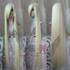 blond Long raide animation Cosplay fête plein cheveux perruques 150cm /60inches