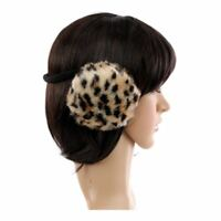 Beige and White Animal Spot Furry Winter Thermal Fashion Earmuffs