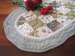 Country Rose Patch Crochet Lace Cotton Quilted Oval Shape Mat Rug Runner Green