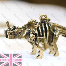 LARGE DINOSAUR pendant NECKLACE vintage brass TRICERATOPS 3D skeleton vegetarian