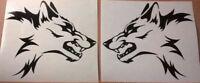 "x2 medium 12x8.5"" vinyl car side stickers bonnet tribal wolf graphics wall art"