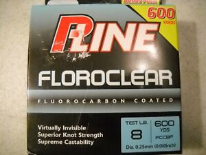 P-Line Clear Floroclear Fluorocarbon Coated Fishing Line 8 lb Test 600 Yards