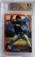 BGS 9.5 CHANCE ADAMS 2016 Bowman Chrome ORANGE REFRACTOR /25 Rookie RC GEM MINT