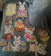 VINTAGE-Easter / Spring- Die-Cut Cardboard Decorations- Lot of 9