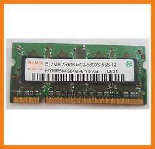 Memoria Ram Hynix 512MB 2Rx16 PC2-5300S DDR2 Memory Ram HYMP564S64BP6-Y5