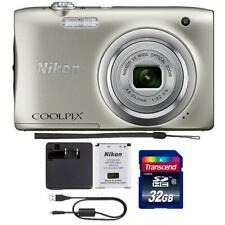 Nikon Coolpix A100 20.1MP Compact Digital Camera Silver with 32GB Accessory Kit