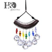 Crystal Ball Prisms Suncatcher Sandalwood Hanging Pendant Rainbow Maker Decor