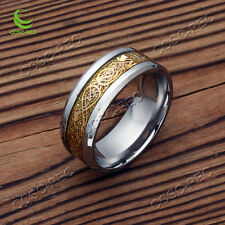 10PCS Silver Gold Dragon Titanium Stainless Steel Men's Wedding Band Rings