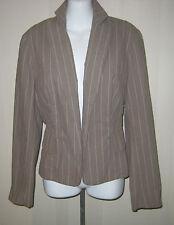VERONICA MAIN lds sz 10 beige & cream pinstripe jacket blazer