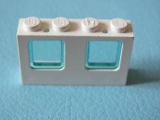 LEGO 4863 @@  Window 1 x 4 x 2 Plane with Trans-Light Blue Glass @@ WHITE BLANC