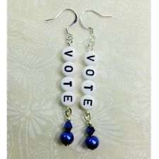VOTE Earrings Blue Glass Beads, Glass Pearls & B&W Letter Beads NEW