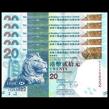 Lot 5 PCS, HongKong Hong Kong 20 Dollars, HSBC, 2014, P-212, banknote, UNC
