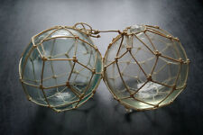 Antique Pair Of Hand Blown Pontiled Early American Fishing Floats In Netting