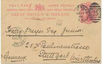 "2427 1899 QV 1d carmine VF postcard LONDON Duplex ""SYDENHAM / S.E. / 25"""