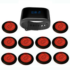 SINGCALL Wireless Waiter Calling System 1 Waterproof Watch, 10 Pagers for Cafe