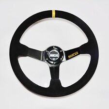 Car 350mm /13.8inch Deep Dished Sport Racing Suede Leather Alloy Steering Wheel