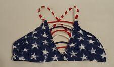 New Womens Xhilaration Swimwear Red White Blue Stars Bikini Top Swimsuit Size XS
