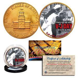 1976 Bicentennial JFK Half Dollar * WW II V-J DAY * 24K Gold Plated Coin