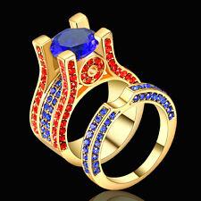 Size 7 Gold Rhodium Plated sapphire Wedding Engagement Ring Band Set Anniversary
