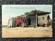 Chili (Red Pepper) drying in front of Adobe Home Postcard Tennessee