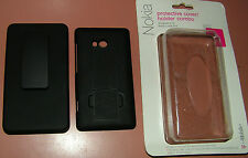 Hard Shell case with holster and kickstand for Nokia Lumia 810, all Black, New