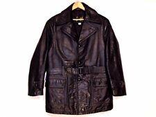 Westerfield VTG rare wool lined belted black leather coat jacket / men 40 M / b7