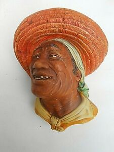 Vintage Naturecraft ** COTTON PICKER ** Bossons Character Wall Mask Plaque