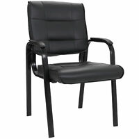 Classic Leather Guest Office Desk Guest Chair Side Chair  with Metal Frame Black