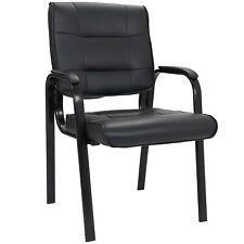 Leather Guest Chair Black Waiting Room Office Desk Side Chairs Reception