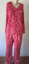 NWT Women S PJS Pajamas Croft & Barrow L/S Fleece Faux Fur Red Scroll Design