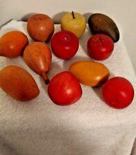 Vintage Hand Carved Fruit Wooden Decor 11 Pieces